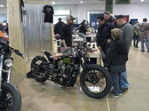 Jeremy Cupp showing off his '76 Ironhead custom hill climber