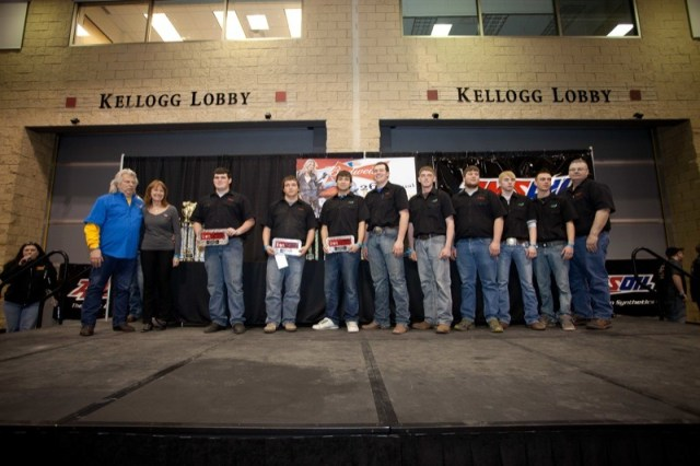 Members of the Mitchell Tech Chopper Class receive their awards from Donnie Smith