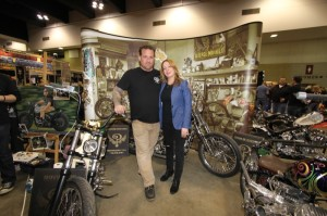 Bobby and Elisa Seeger bring some East Coast style with the Indian Larry Motorcycles display