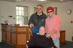 Walt Sides of Rolling Thunder and Jay Allen visit veterans at the Sims VA Home