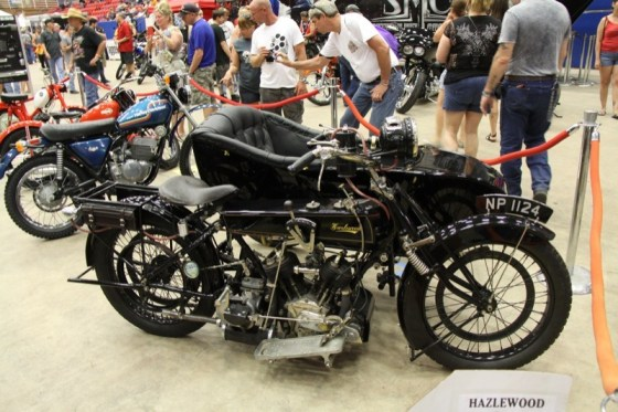 The rarest bike in the Vintage Bike Show, a 1922 Hazelwood complete with a classy sidecar