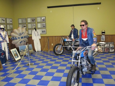 Lathan McKay (foreground), Robbie Hull and Scott Wiley (not pictured) are ensuring the legacy of Evel Knievel lives on
