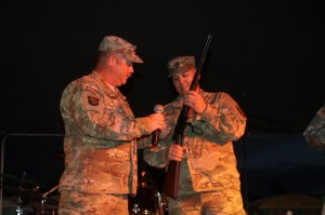 U. S. Army Sgt. Terry Gamble was presented with the Soldier of the Year Award, a .22 caliber Henry lever action rifle