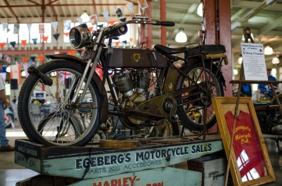 The wooden mechanic's stand holding this 1914 Harley came from the longest-serving motorcycle dealer in Twin Cities history, Egeberg's Motorcycle