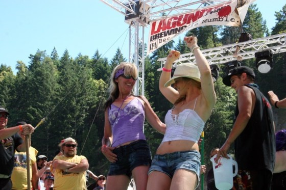Things got wild on stage Saturday afternoon as Genevive (r), a local Humboldt county girl, won the wet T-shirt contest by popular audience vote