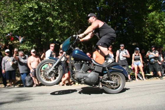Wheelies and burnouts on Saturday provided plenty of entertainment for the folks on the hill