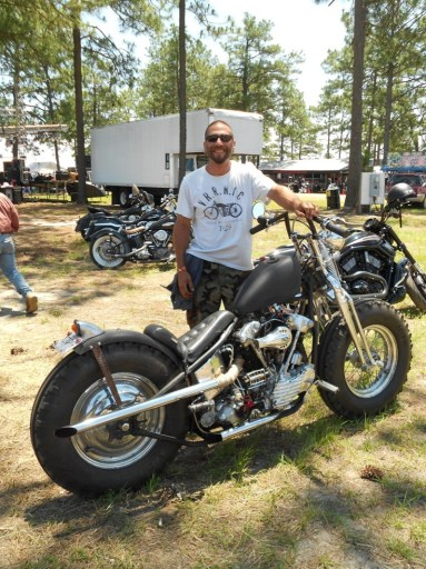 Phil from Endless Cycles in Atlanta, Georgia, with his off-road '47 Knucklehead