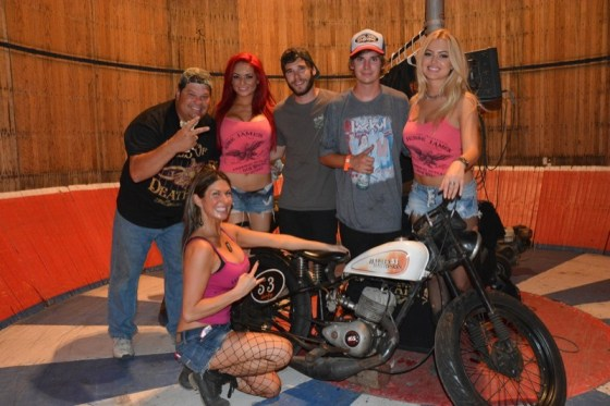 Shawn Ives (Dad), Jesse James Bourbon Girl Patty (kneeling), Bourbon Girl Alicia, Cody Ives, Kyle Ives and Bourbon Girl Markie in the Ives Brothers' Wall of Death