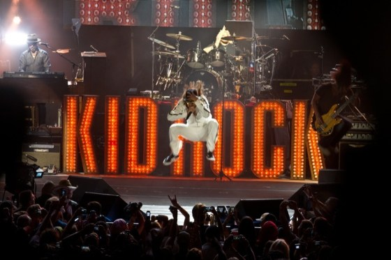 Kid Rock defies gravity during his Monday night concert at the Buffalo Chip