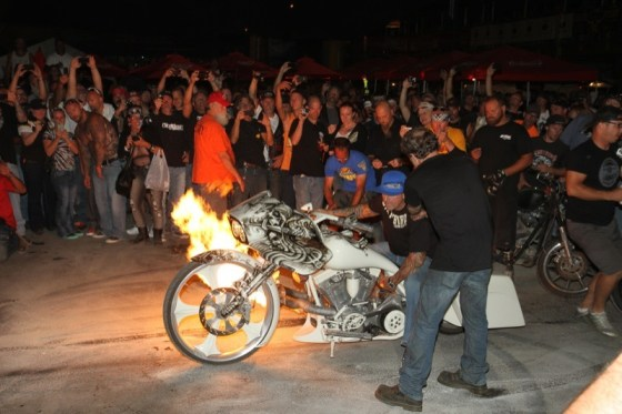 John Shope of Dirty Bird Concepts does a flaming burnout at the Easyriders Saloon