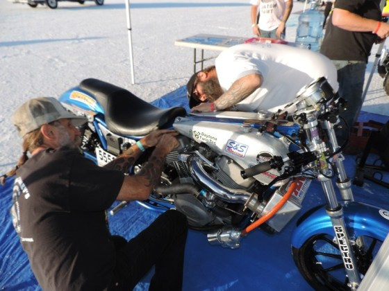 Micah and Wink tinker on the FXR prior to the test runs