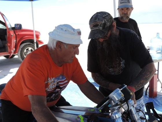 Wink gets NHRA Top Fuel legend Pete Hill dialed in on the FXR for his run on the salt