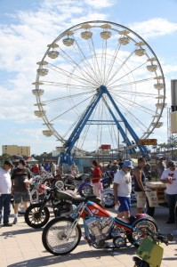 Under the shadow of the Ferris wheel folks got to check out all the customs at the Boardwalk Classic BIke Show on Friday