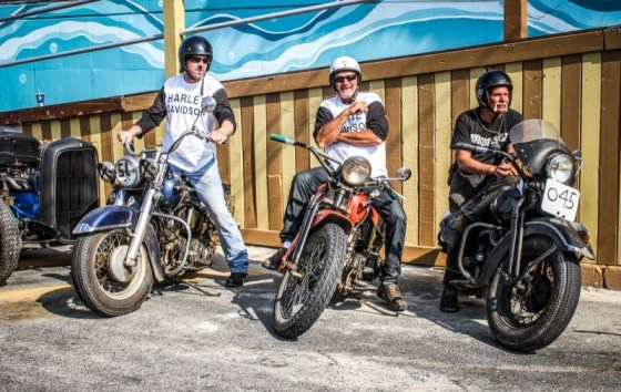 The daily driver trio: Keith Camens, and his all original 1952 Harley-Davidson; Eric Floeck and his stock 1948 Harley-Davidson built it from collected parts; and Eddie Jakubowski with his '47 H-D