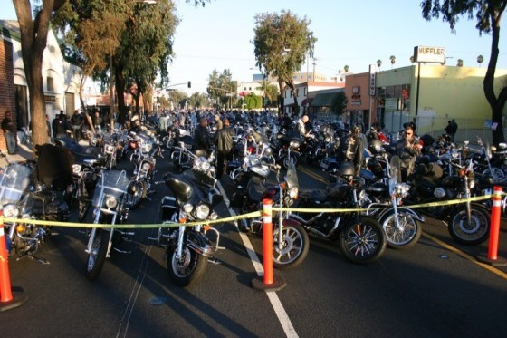 Bikes line the streets of Glendale for the traditional caravan to Castaic Lake