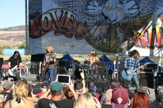 Dave Grohl (r) and Chevy Metal rock Castaic Lake on the Love Ride stage