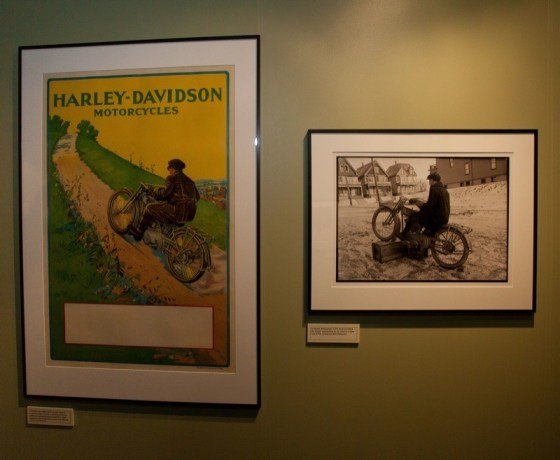 This display shows how some of the early H-D ads were created