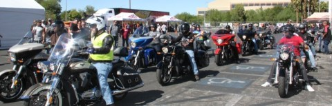 Polaris Industries brought Victory and Indian models to the Cashman Center for BikeFest attendees to demo