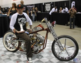 """Rick Bray of RKB Kustom Speed took first place in the Artistry in Iron show with his custom Shovel named """"Palo Duro,"""" which means """"hard shovel"""" in Spanish"""
