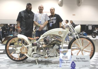 Mechanic Brandon Taggert and exhaust fabricator Gary Maurer with Ron Harris, owner of the People's Choice Award-winning custom in the Artistry in Iron competition