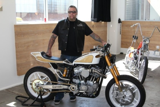 """""""Chopper"""" Dave Freston with his turbo-charged 74"""" Evo-powered rocket"""