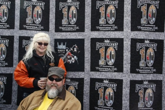 Big Dave Hansen hung out with his beautiful bride Tammy, who stitched up the commemorative Chopperfest 10 quilt
