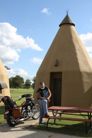 The author at the Tee-Pee Motel in Texas
