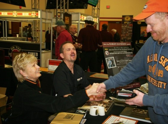 """Jean Davidson, historian for Davidson family, and her son Jon Davidson Oeflein, were happy to meet fans and autograph their co-authored book """"Harley-Davidson Family Memories"""""""