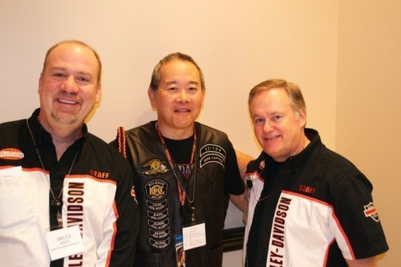 The author (center) stands with Bruce Motta and Steve Piehl of The Motor Company