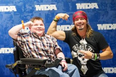 Bryson Foster with Bret Michaels at this year's MDA Ride for Life event.