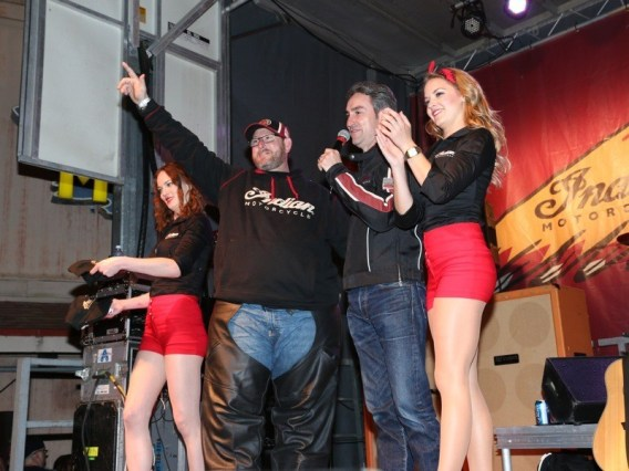 "Mike Wolfe (second from right) congratulates Donnie Donohue (second from left) on winning the Indian Motorcycle ""Epic One-Year Demo Ride"""