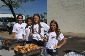 Katie Warren, Jenny Trip, Lana Berisha and Danielle Updyke flipped a lot of pancakes for the Torch Ride breakfast