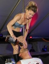 Heather from Bodies Bar at the Riverside Resort pours a skull shot
