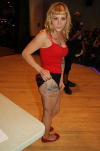 Desiree took top honors in the Black and Gray class at the Tattoo Contest