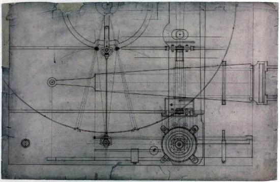 "What you see here is a portion of the ""blueprints"" of Harrison's H3 chronometer… although neither blueprint nor chronometer were actual words when this thing was invented. That came later, along with the lightning-quick adoption of the thing you see in the lower right corner. It is the first caged roller bearing, consisting of four brass rollers and inner and outer races made of bronze."