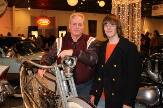It runs in the family—Father Jack and son Eddie Bahle with Dad's 1912 H-D
