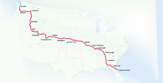 Motorcycle Cannonball Run Route Map