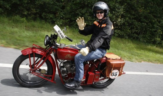 Hans Coertse came all the way from South Africa to take home the coveted bronze statue, sculpted by Jeff Decker, by riding every mile of the 2014 Motorcycle Cannonball