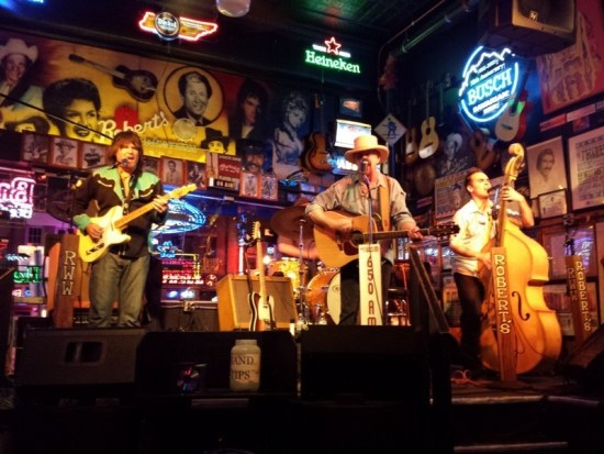Porter McClister (left) with the Don Kelley Band knocked our socks off with his guitar playing at Robert's Western World in Nashville