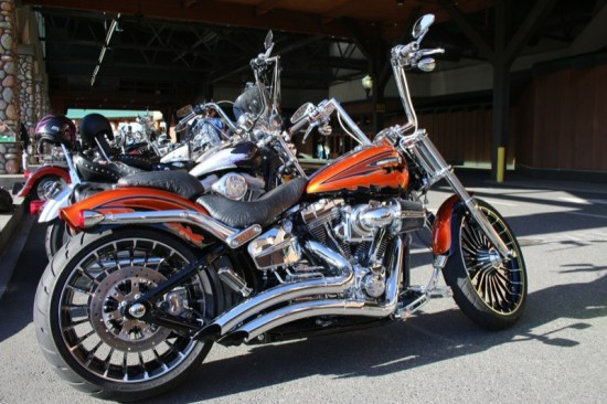 Hand tooled leather, chrome for days, this Softail dazzled judges in the bike show competition