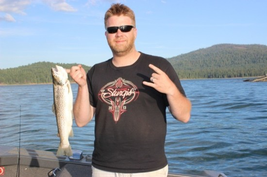 Monster trout roam the bottom of Lake Almanor as the weather warms in the late spring. Jigging with mealworms and night crawlers proved successful to the tune of four keepers, the largest being a brown trout weighing in at over 4 pounds.