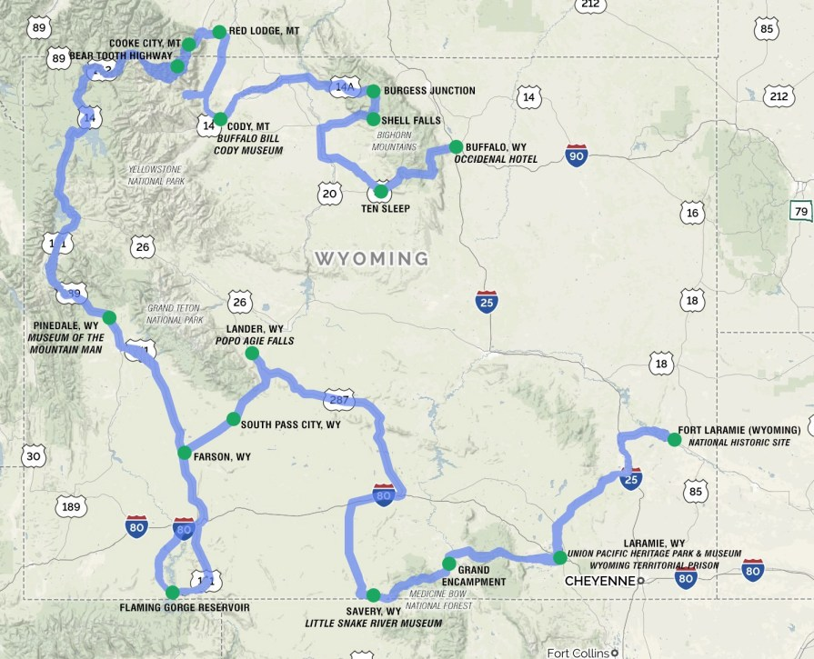 Wyoming Tour Route Map