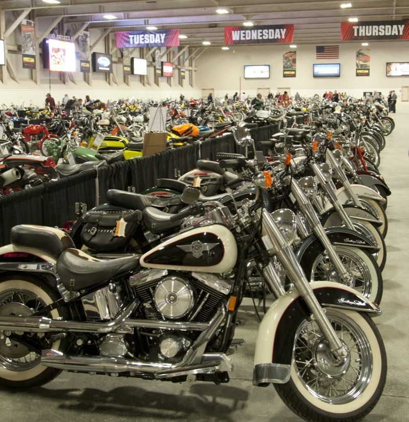 Bikes of every ilk sat silently gleaming, waiting for their chance to roll across the stage during the week-long Mecum auction in Las Vegas