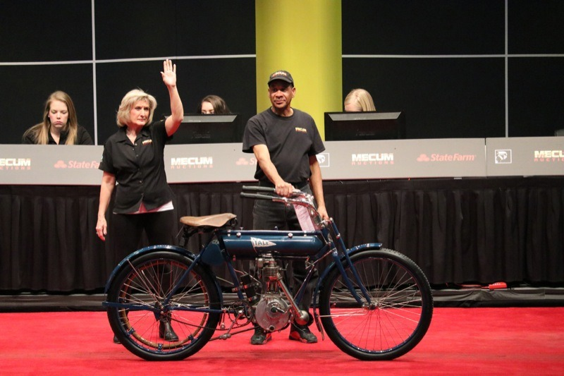 The Yale motorcycle company originated in San Francisco as one of America's oldest manufacturers. Bids on this 1909 single went as high as $40,000 but did not reach reserve, consequentially the incredibly rare machine was returned to the bullpen unsold.