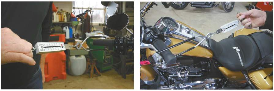 The tool John created to measure the effort required for clutch lever pull show the stock clutch requiring 14 pounds of pressure to disengage the clutch (l.) and the Bandit clutch requiring eight pounds to disengage (r.)