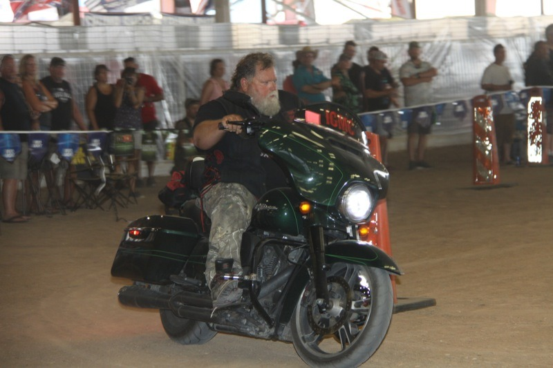 Taking a bike into inappropriate places included 900-pound Harleys barrel racing in loose dirt