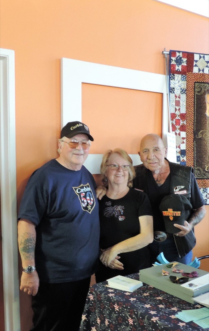 "The ""Idea Guy"" Mike Corbin, his beautiful wife, Bev standing with their long time friend and another Legend, Sonny Barger, Hells Angel Oakland"