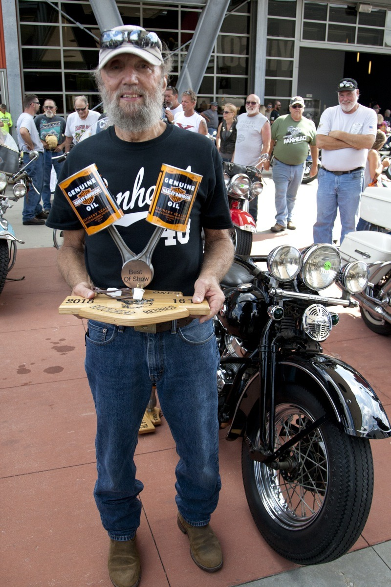 "Stan ""Sonny"" Acton won Best of Show for his immaculate original first-year 1948 Panhead. After two years of pestering the first owner to sell it to him, Sonny felt it was his responsibility to keep the bike as it was built."