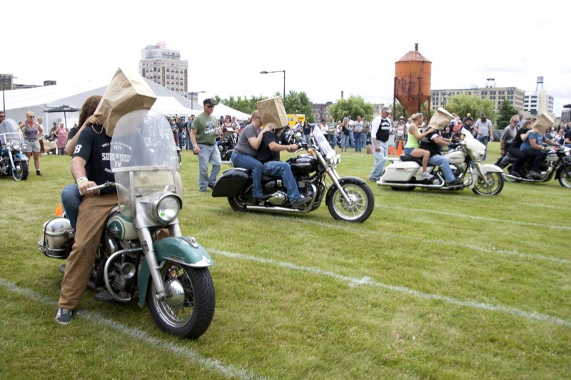 Teams of riders competed in the blind race during the Wild Ones Weekend field games. The weekend of fun was in celebration of the 70th anniversary of the Panhead, the 16th anniversary of the Knucklehead Company, and the 10th anniversary of the Harley-Davidson Museum's grand opening.
