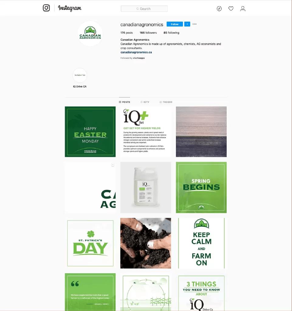 Screenshot of Canadian Agronomics Instagram Feed